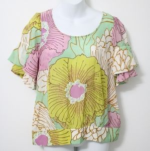 ANTHRO Odille Floral Pastel Silk Blouse